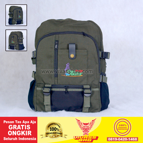 Tas Ransel Seminar Kanvas Warna Hijau Army – Vivass Bag Product