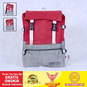 Tas Seminar Ransel Denim Warna Merah Marun Abu – Vivass Bag Product